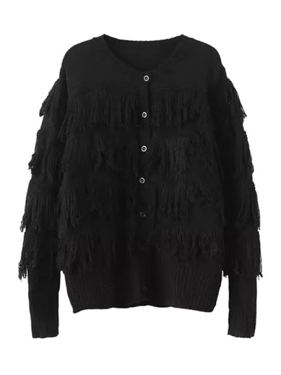 outfit Tassels Spliced Long Sleeve Cardigan - BLACK ONE SIZE(FIT SIZE XS TO M)