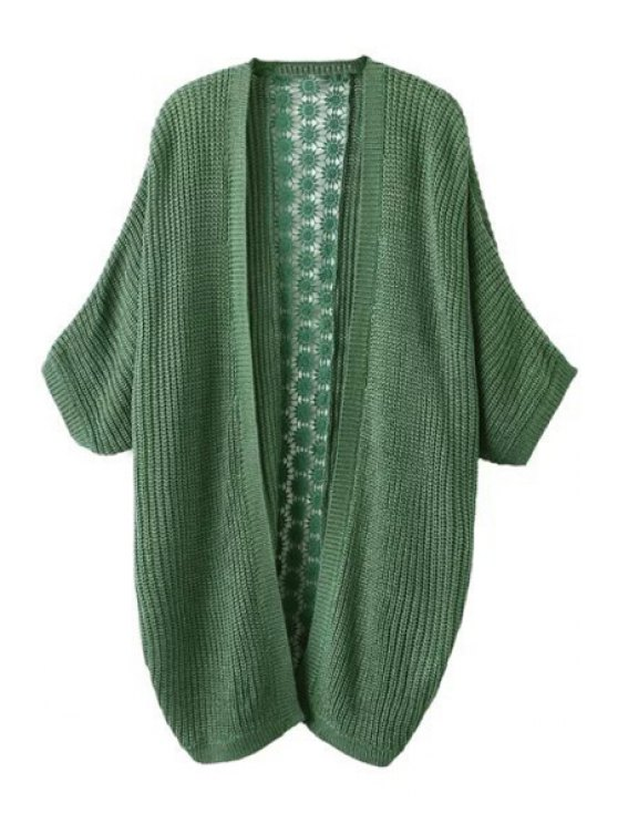 chic Lace Spliced 3/4 Sleeves Cardigan - GREEN S