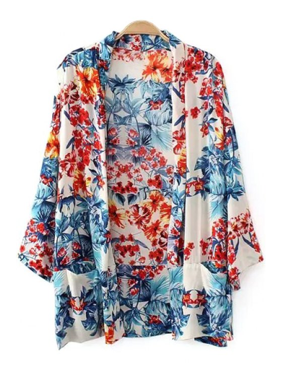 buy Floral Print Long Sleeves Kimono Blouse - COLORMIX S