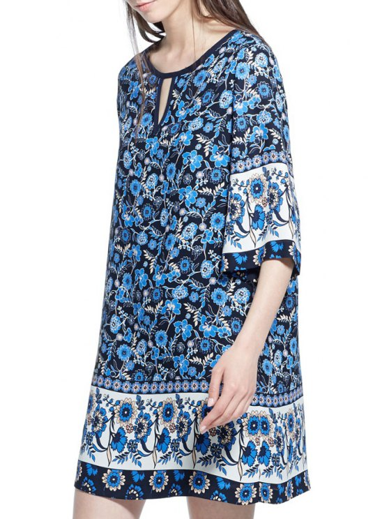 shops Floral Print Round Collar Half Sleeves Straight Dress - PURPLISH BLUE S