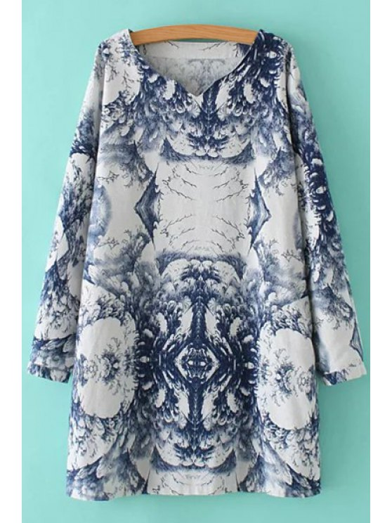 latest Abstract Print V Neck Long Sleeve Dress - COLORMIX XL