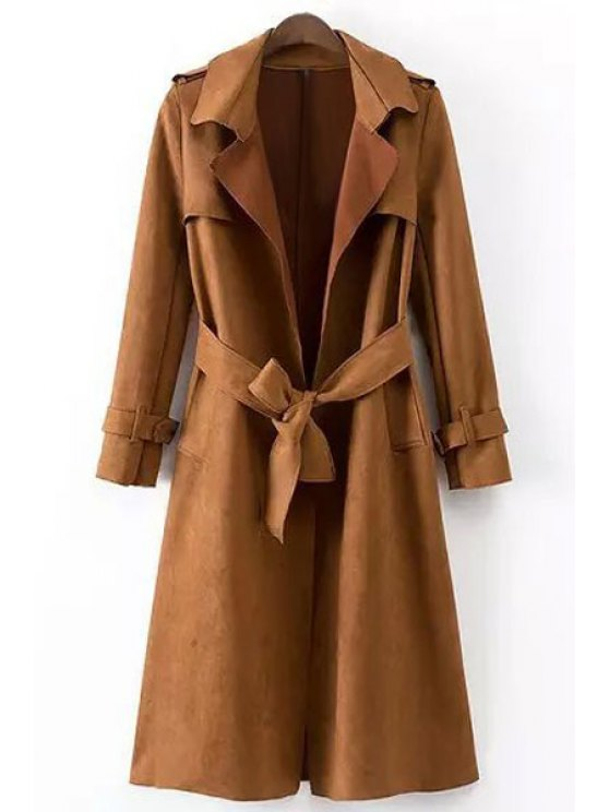 lady Faux Leather Lapel Long Sleeve Coat - BROWN S