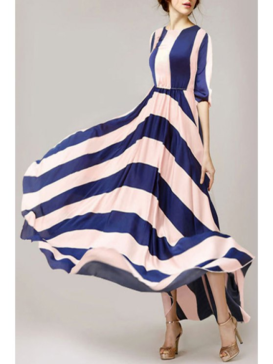 new Stripes Spliced 3/4 Sleeve Maxi Dress - BLUE AND PINK S