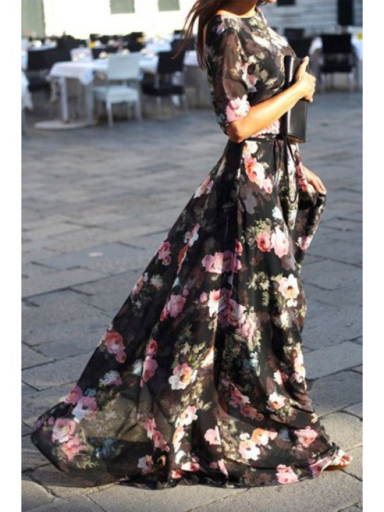women's Flower Print Half Sleeve Maxi Dress - BLACK S