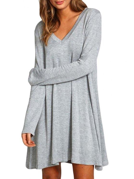 shop Gray V Neck Long Sleeve Dress - GRAY S