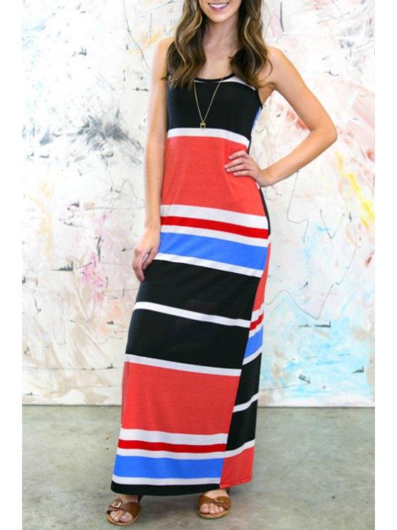 buy Scoop Neck Sleeveless Striped Dress - BLUE XL