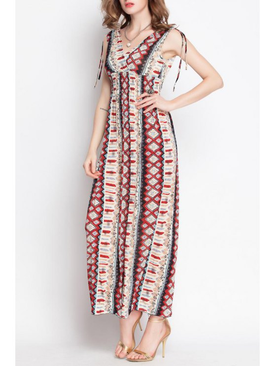 hot Color Block Argyle Pattern Sleeveless Dress - RED M