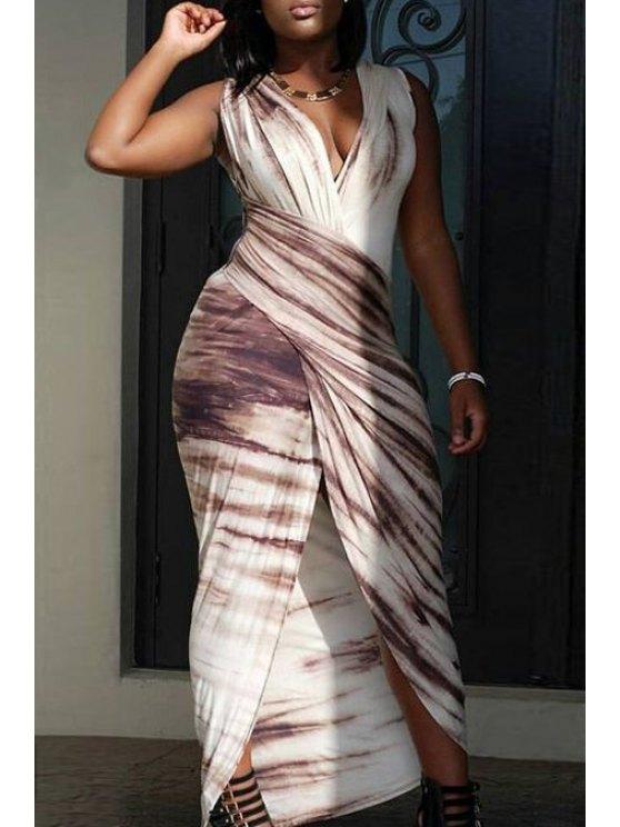 shop Print Plunging Neck Sleeveless Maxi Dress - COLORMIX S