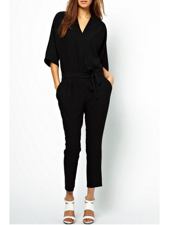 best Pocket Narrow Feet Black Jumpsuit - BLACK L