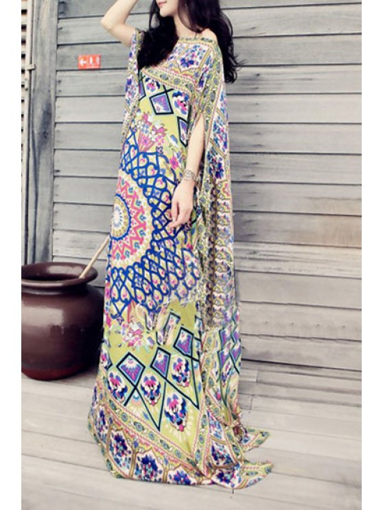 outfits Ethnic Print Half Sleeve Maxi Dress - GREEN ONE SIZE(FIT SIZE XS TO M)