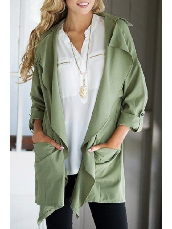 fashion Lapel Big Pocket Green Trench Coat - ARMY GREEN S