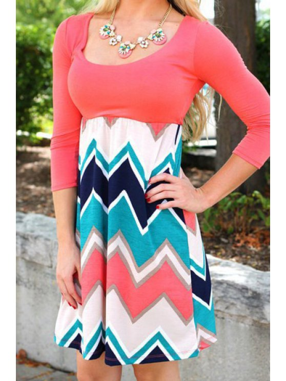 online Zig Zag Fit and Flare Dress - PINK S