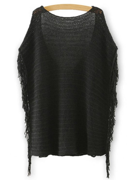 lady Scoop Neck Backless Solid Color Short Sleeve Sweater - BLACK S
