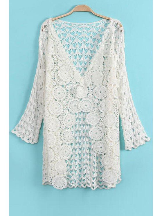 women's 3/4 Sleeve Hollow Out Cardigan - WHITE ONE SIZE(FIT SIZE XS TO M)