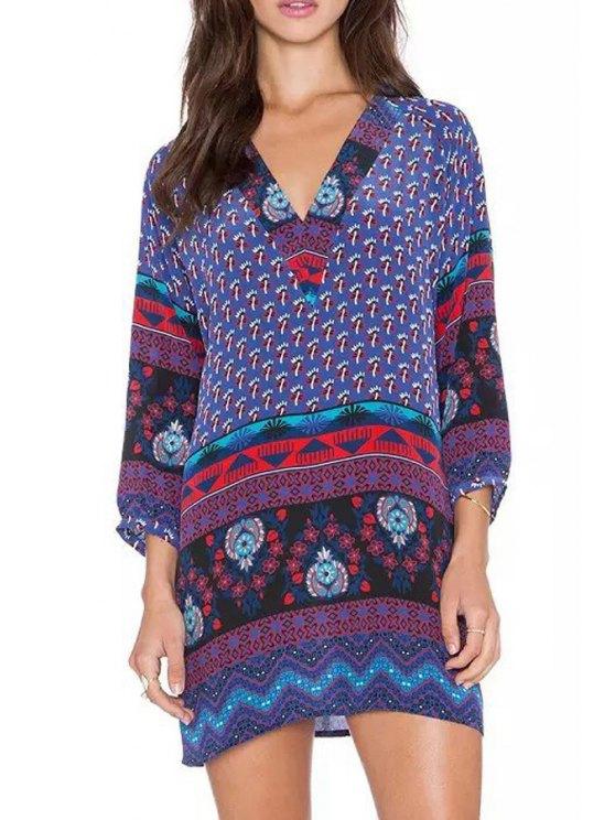shop Long Sleeve Floral Print Straight Dress - BLUE S