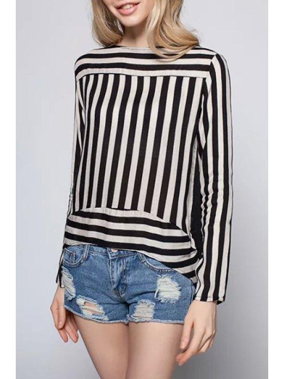 online Long Sleeve Striped Irregular T-Shirt - WHITE AND BLACK S