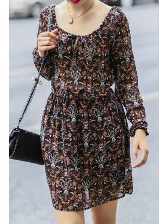 new Full Floral Print Chiffon Dress - BROWN S