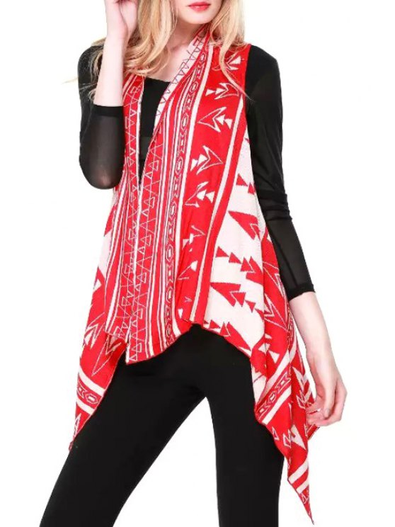 womens Sleeveless Jacquard Asymmetric Cardigan - RED ONE SIZE(FIT SIZE XS TO M)