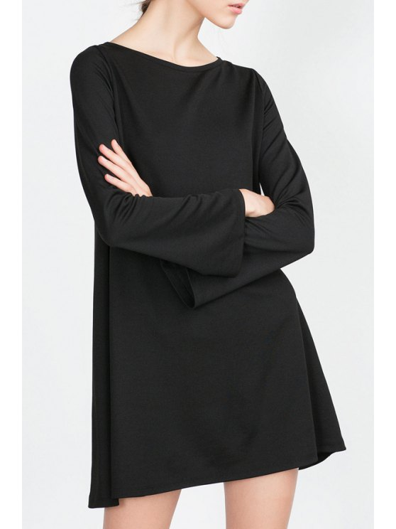 lady Long Bell Sleeve Solid Color Dress - BLACK S