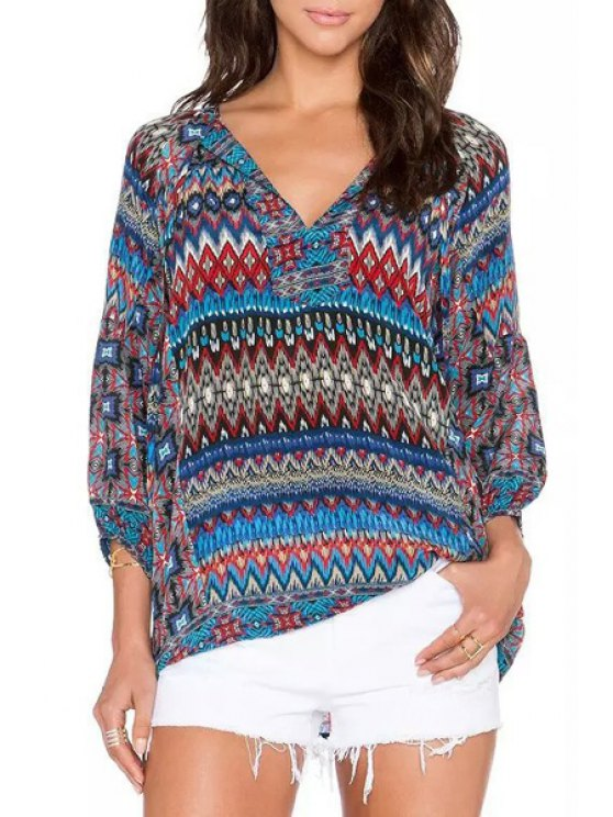 new Long Sleeve Printed Blouse - COLORMIX S