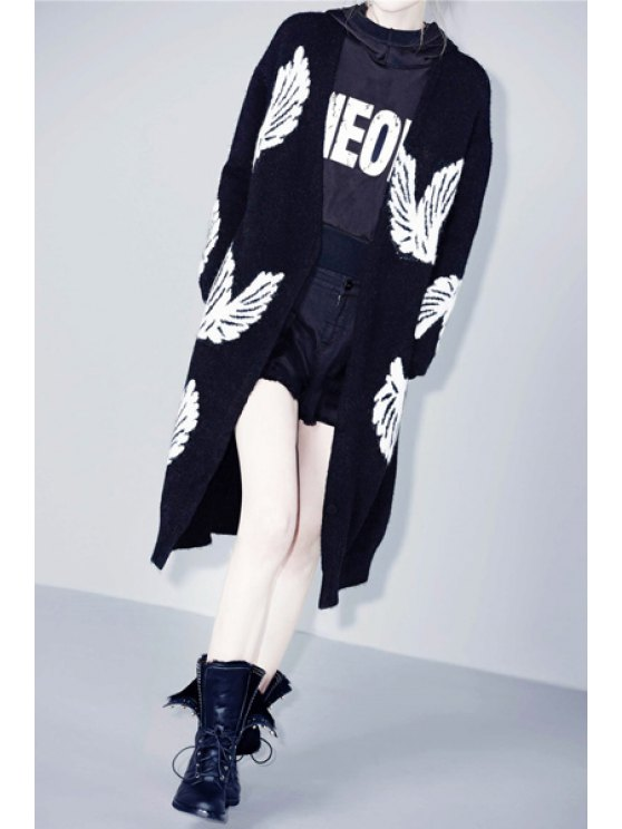 womens White Wing Pattern Long Sleeve Cardigan - BLACK M