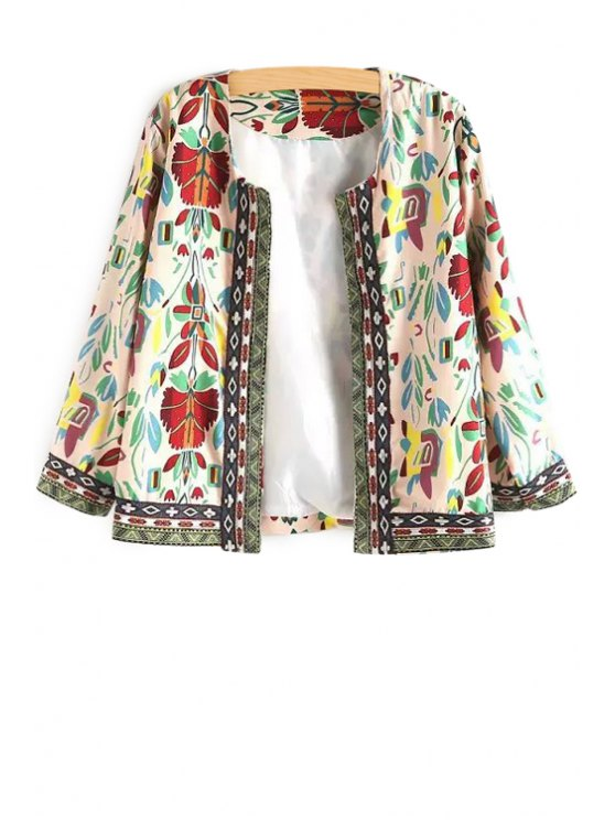 shop Floral Print Long Sleeves Round Collar Coat - WHITE ONE SIZE(FIT SIZE XS TO M)