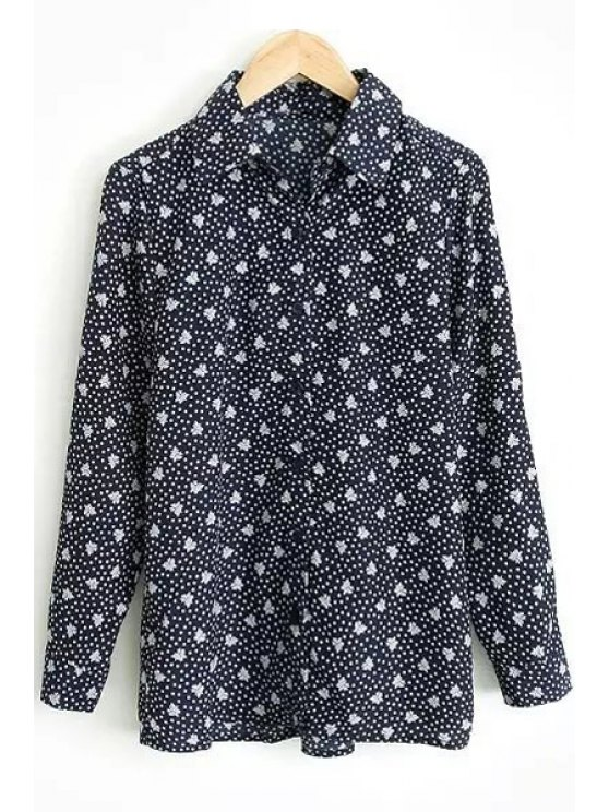shop Full Tiny Floral Long Sleeve Shirt - PURPLISH BLUE S