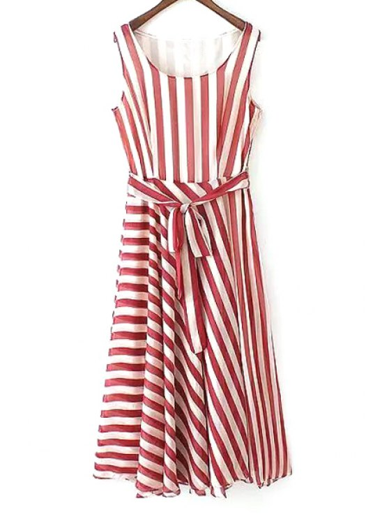 trendy Red Striped Scoop Neck Sundress - RED WITH WHITE S