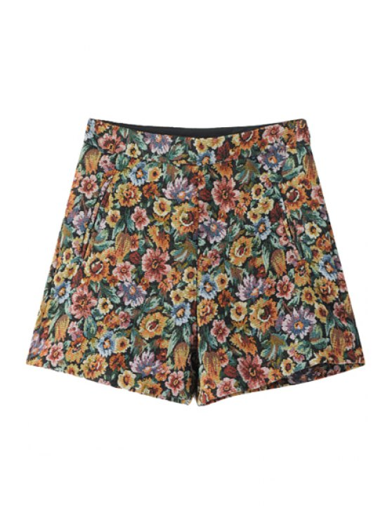 ladies Flower Pattern High Waisted Shorts - COLORMIX S
