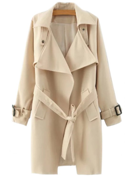 chic Lapel Belted Solid Color Coat - KHAKI S