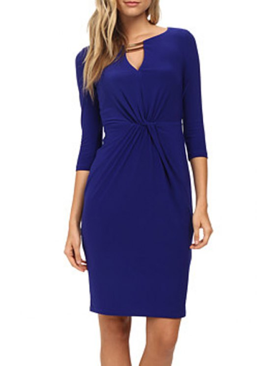 trendy V-Neck Solid Color Knot 3/4 Sleeve Dress - BLUE XL