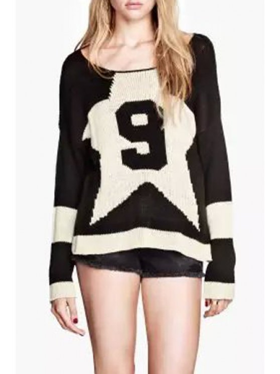 affordable Number Pattern Long Sleeve Jumper - WHITE AND BLACK S