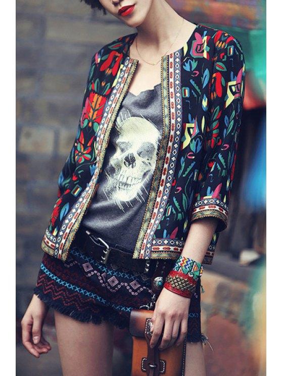 women's Colorful Floral Print 3/4 Sleeve Coat - BLACK S