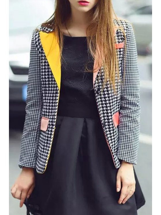 sale Lapel Houndstooth Blazer - WHITE AND BLACK S