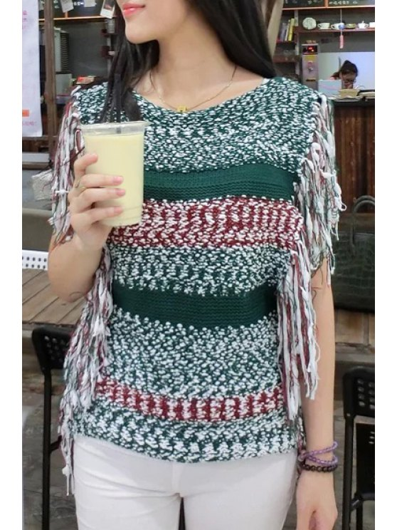 womens Sleeveless Tassels Spliced Sweater - GREEN ONE SIZE(FIT SIZE XS TO M)