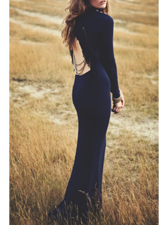 affordable Solid Color Backless Long Sleeve Mermaid Dress - DEEP BLUE S
