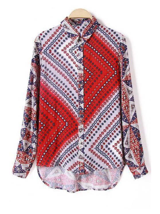 fashion Floral Print Splicing Long Sleeves Flat Collar Blouse - COLORMIX XL