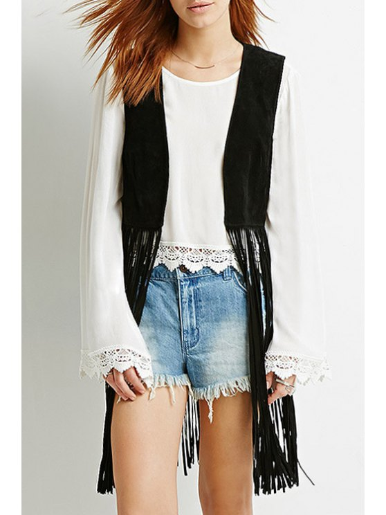best Black Tassels Collarless Waistcoat - BLACK XS