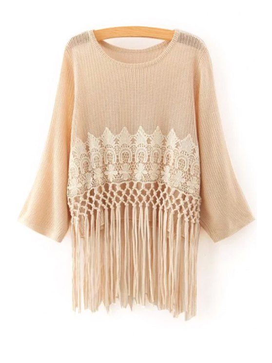 lady Crochet Flower Tassels Sweater - OFF-WHITE ONE SIZE(FIT SIZE XS TO M)