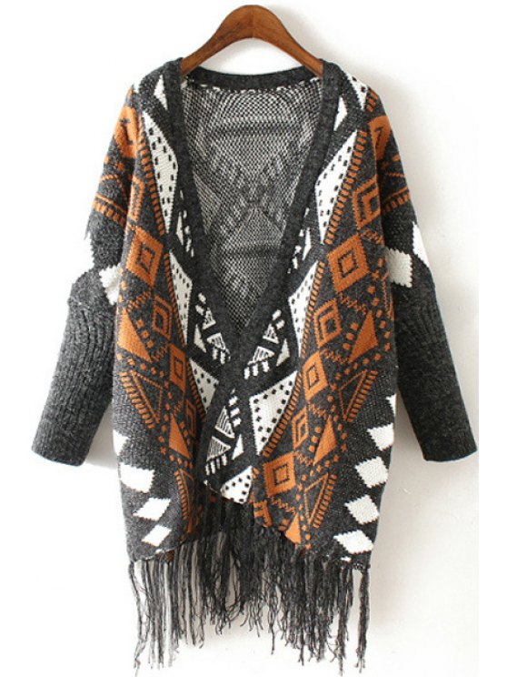 shops Batwing Sleeve Tassels Jacquard Cardigan - YELLOW ONE SIZE(FIT SIZE XS TO M)