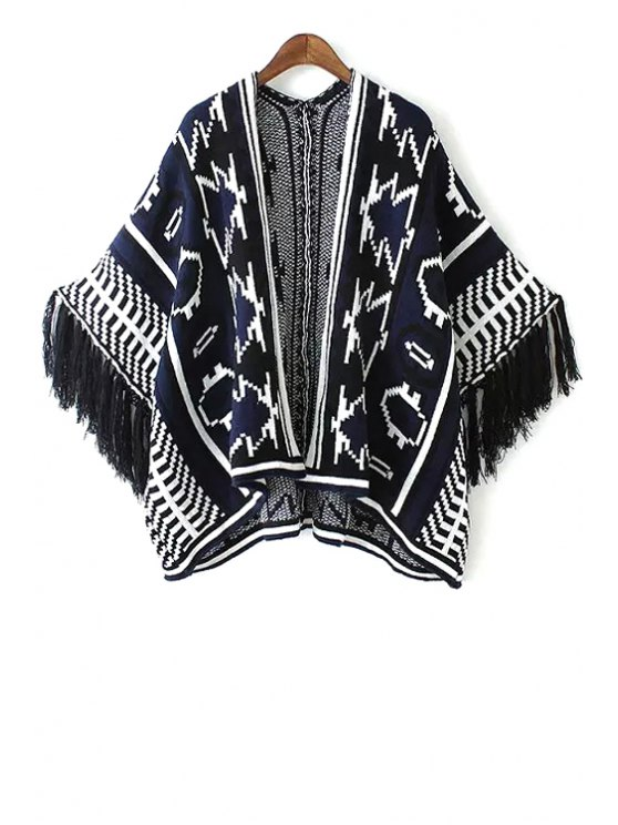 affordable Jacquard Tassels Cape Sweater - BLUE ONE SIZE(FIT SIZE XS TO M)
