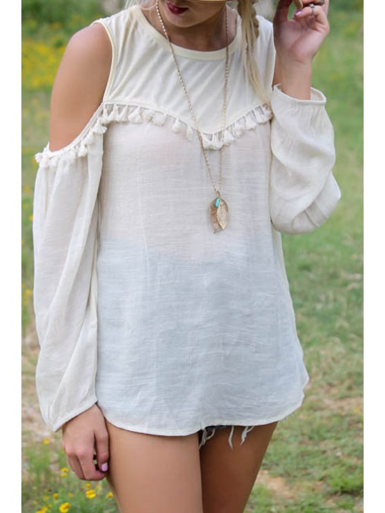 shops White Tassel Splicing Long Sleeve T-Shirt - WHITE S