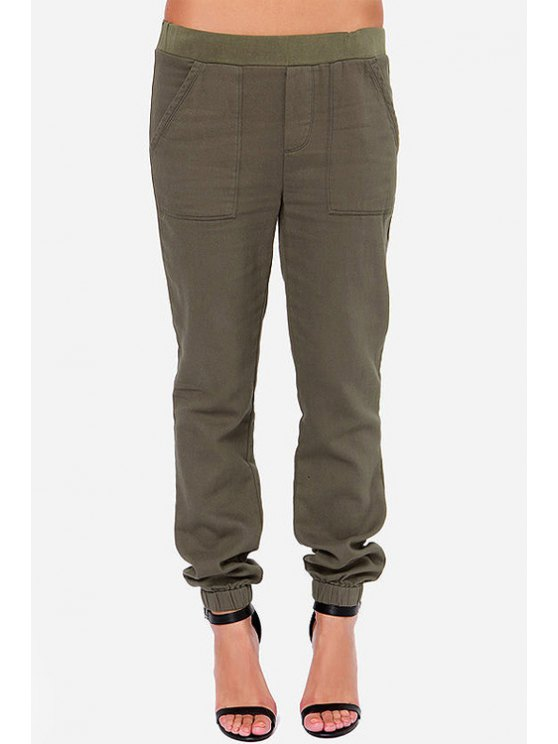 online Pure Color Elastic Waist Pants - ARMY GREEN XS