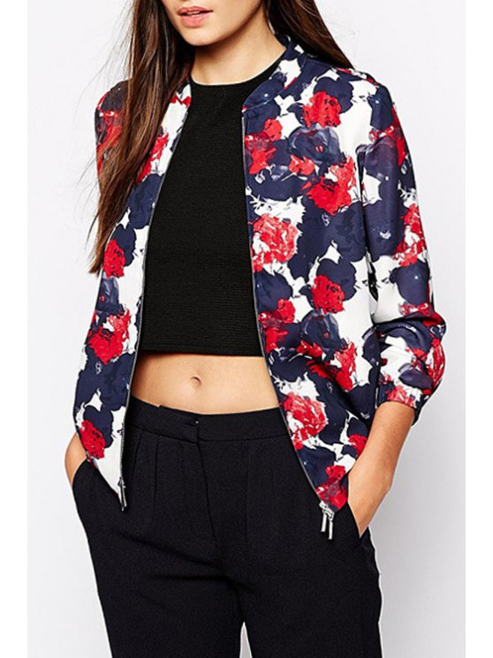 sale Floral Stand Neck Long Sleeve Baseball Jacket - PURPLISH BLUE XS