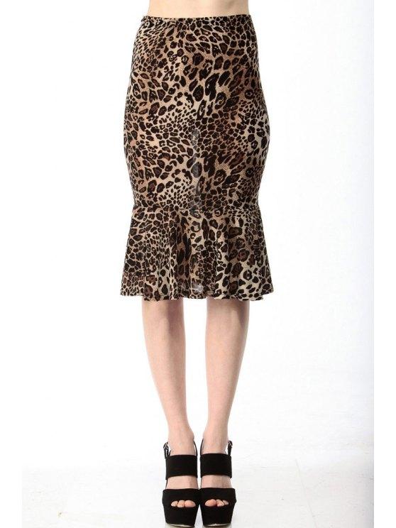 best Leopard Print High Waisted Mermaid Skirt - LEOPARD XS