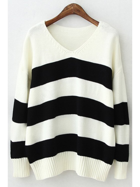 best V-Neck Color Block Stripes Sweater - BLACK ONE SIZE(FIT SIZE XS TO M)