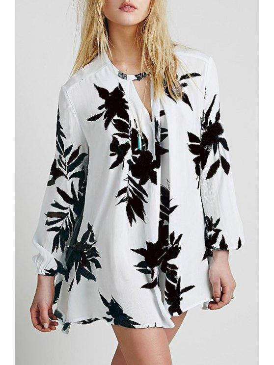 online A-Line Floral Print Chiffon Blouse - WHITE S