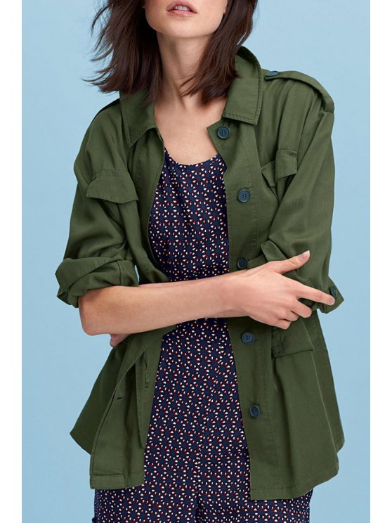 shop Army Green Turn Down Collar Long Sleeve Trench - ARMY GREEN XS