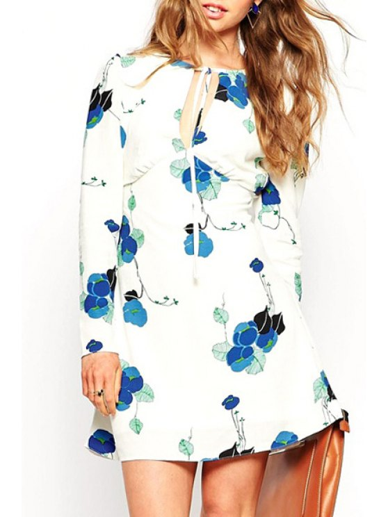 womens Floral Print Long Sleeve Cut Out Dress - WHITE XS