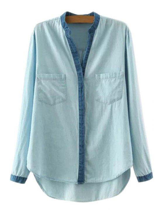 affordable High Low Denim Splicing Long Sleeve Shirt - LIGHT BLUE S